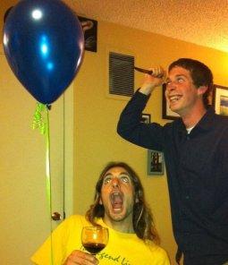 Two crazy guys having a crazy time.
