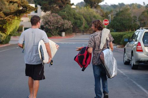 West and I embarking on the long walk down to Blacks. Photo: Christoper Dunlea