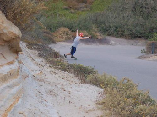 It seems in the past few years downhill skaters have been testing their skills on the path.  Thats some crazy shit right there.