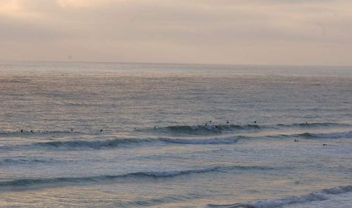 This is a light crowd for a San Diego line up.  Photo: Christopher Dunlea