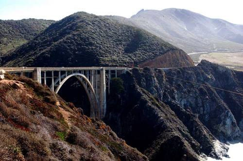 Bixby Creek Bridge, pretty in the day light, but at night with intense fog an easy way to die.