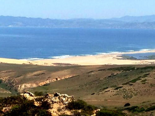 The large sandy area in the distance is the southern most end of the Guadalupe Dunes.