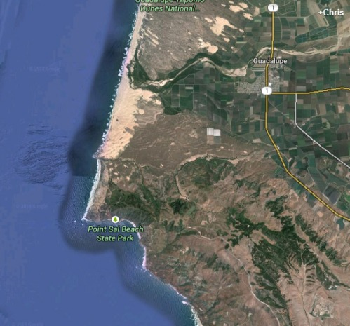 The Google Earth Map of Point Sal that had my interest peaked.
