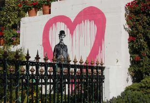 Cool Charlie Chaplin painting we came across on our walk about.